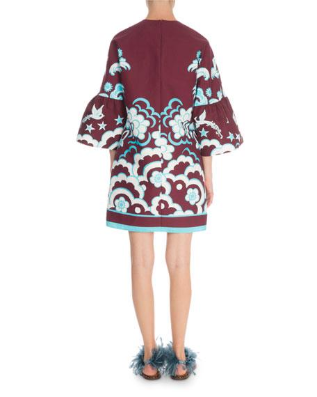Valentino 3/4-Sleeve Fenice Print Cady Dress