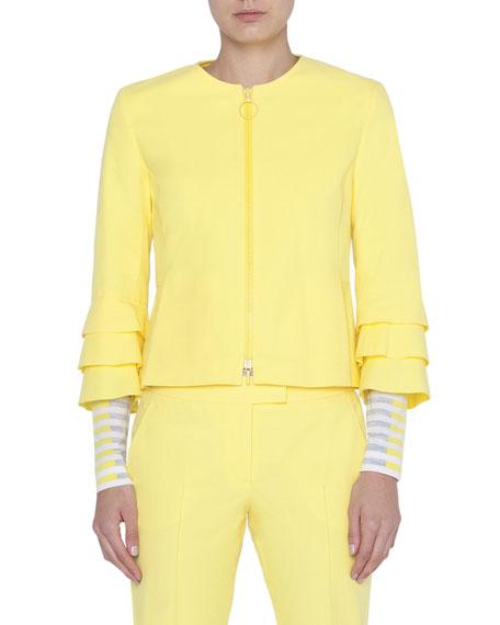 Akris punto Tiered-Sleeve Ring-Zip Jacket