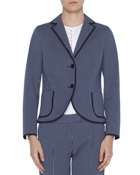 Akris punto Cotton Seersucker Blazer