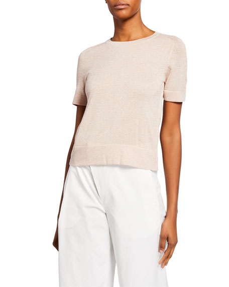 Akris punto Shimmered Half-Sleeve Sweater