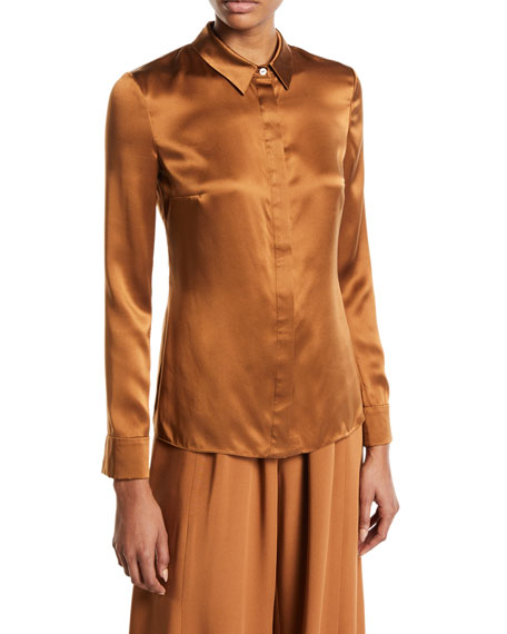 CUSHNIE Long-Sleeve Button-Front Silk Blouse