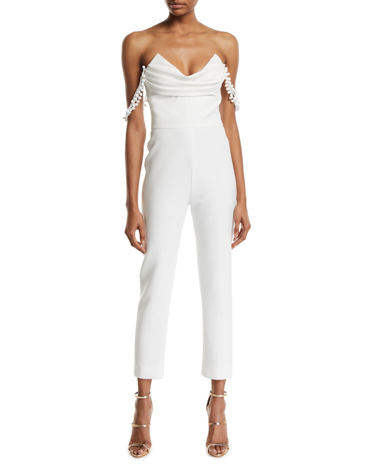 aa2733114eb96c CUSHNIE Strapless Cropped Jumpsuit