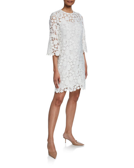 Lela Rose Flutter-Sleeve Lace-Illusion Tunic Dress
