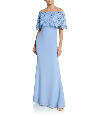 Lela Rose Lace Capelet Gown d2b0e678e