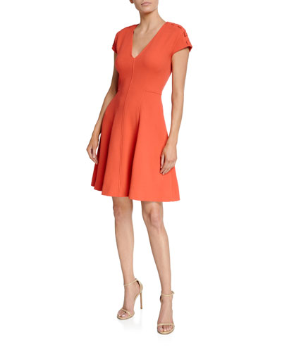 Seamed Fit-and-Flare Dress