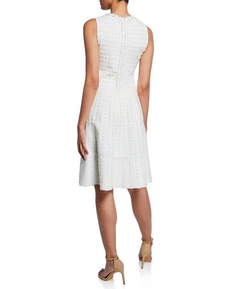 Lela Rose Tweed-Striped Sleeveless Tiered Knit Dress