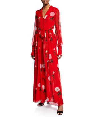e2decb9d991 Oscar de la Renta Long-Sleeve V-Neck Floral Maxi Dress