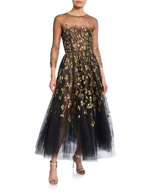 615291ba1410f Oscar de la Renta Long-Sleeve Embroidered-Tulle Illusion Gown