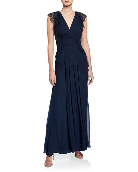 Jenny Packham Lace-Sleeve Pleated Chiffon Gown