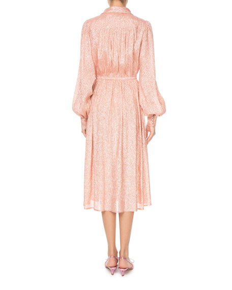 Marc Jacobs Shimmer Drape-Neck Long-Sleeve Dress