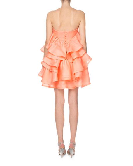 Marc Jacobs Strapless Ruffled Rosette Silk Cocktail Dress