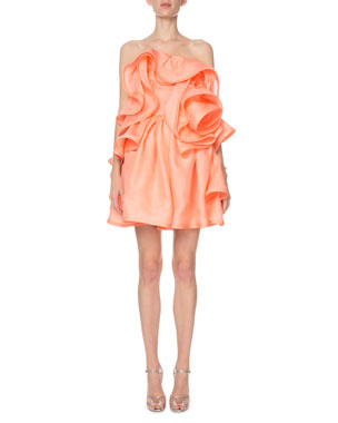 b59bf7e3cad Marc Jacobs Strapless Ruffled Rosette Silk Cocktail Dress
