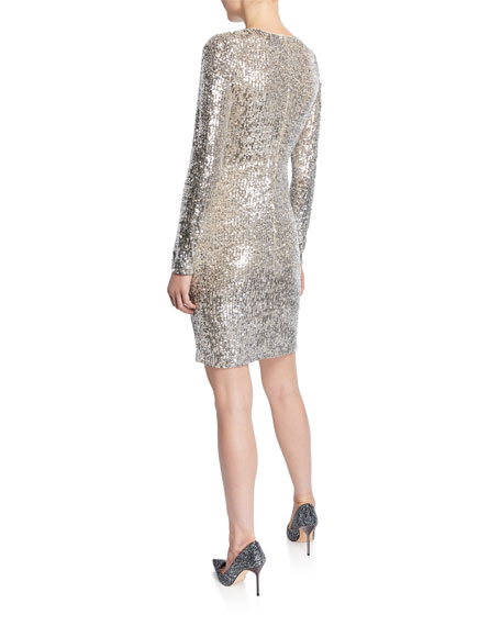 Naeem Khan Sequined Long-Sleeve Bodycon Dress