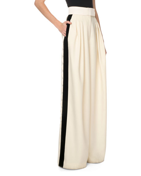 Marc Jacobs Wide-Leg Scalloped-Side Trousers