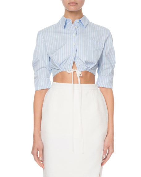 Altuzarra Pinstriped Cropped Button-Front Top