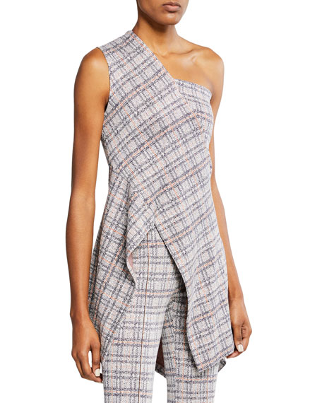 Rosetta Getty Plaid Jersey One Shoulder Top by Rosetta Getty