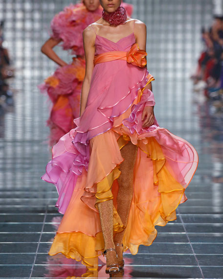 Marc Jacobs Tiered Cascading Chiffon Cocktail Dress