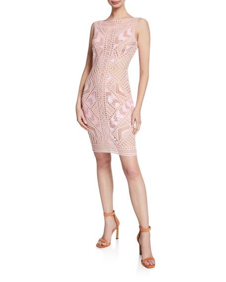 Naeem Khan Sleeveless Geometric Lace Dress