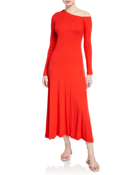 Rosetta Getty One-Shoulder Long-Sleeve Flare Dress