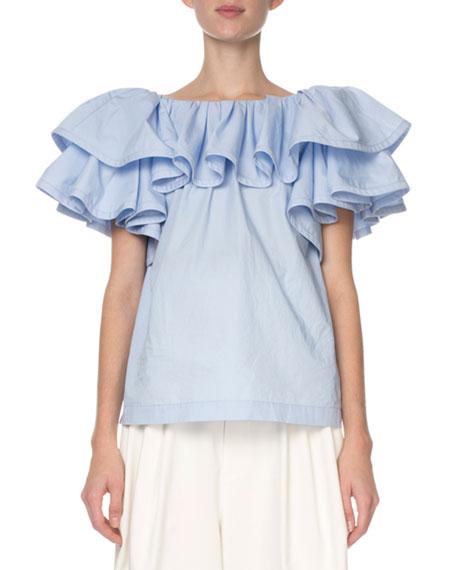 Marc Jacobs Tiered-Ruffle Poplin T-Shirt, Light Blue