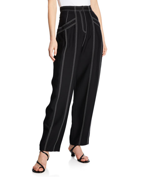 Derek Lam Wide-Leg Topstitched Pants