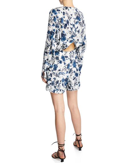 Derek Lam Nightshade Floral Print Long-Sleeve Short Jumpsuit