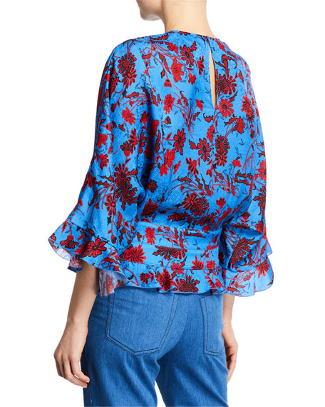 Derek Lam Short-Sleeve Nightshade Floral Blouse