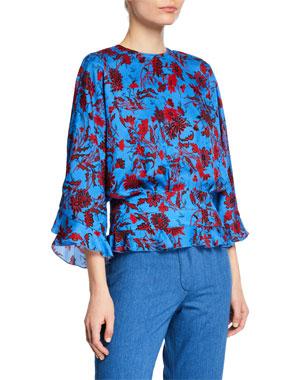 a85512c843328b Derek Lam Short-Sleeve Nightshade Floral Blouse