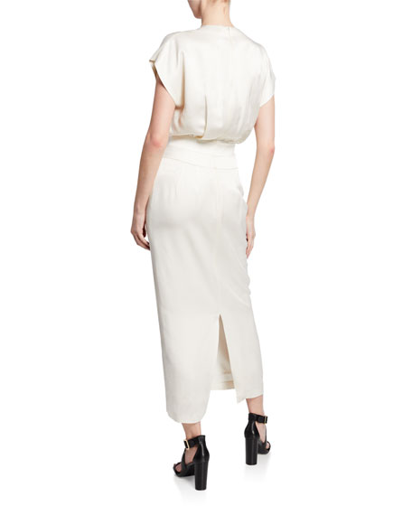 Derek Lam V-Neck Short-Sleeve Dress with Tapered Skirt
