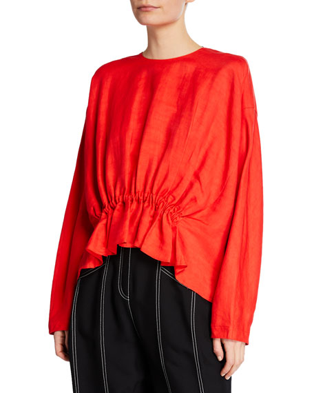 Derek Lam Long-Sleeve Crewneck Blouse with Gathered Waist Detail
