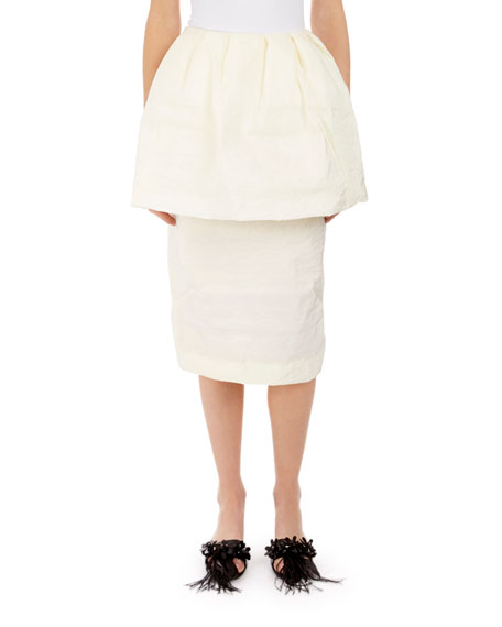 Simone Rocha Slim Peplum Paper Cotton Skirt