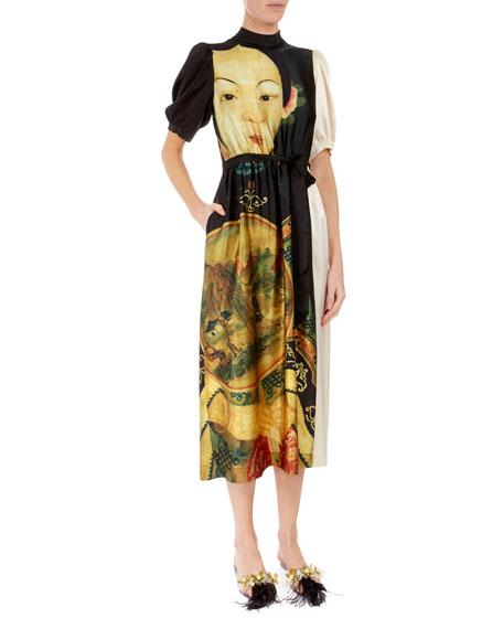 Simone Rocha Portrait-Print Silk Midi Dress with Pockets