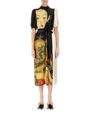 355b72e56aa4 Simone Rocha Portrait-Print Silk Midi Dress with Pockets