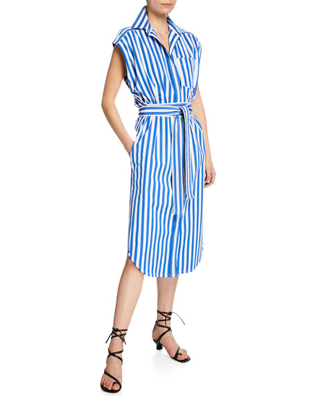 Derek Lam Sleeveless Striped Wrapped Shirtdress