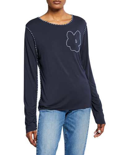 Topstitched Floral-Embroidered Long-Sleeve Tee