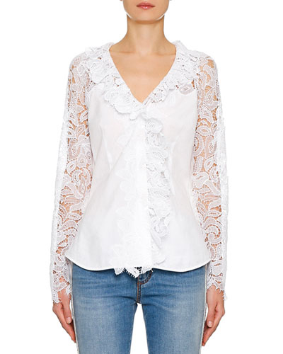 Macrame Lace-Sleeve Cotton Poplin