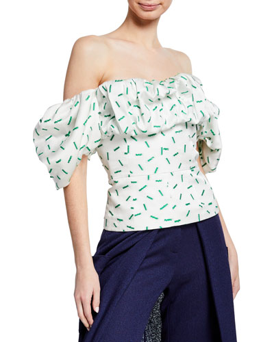 Off-The-Shoulder Ruffled Bustier Blouse