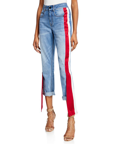 Distressed Satin-Side Jeans