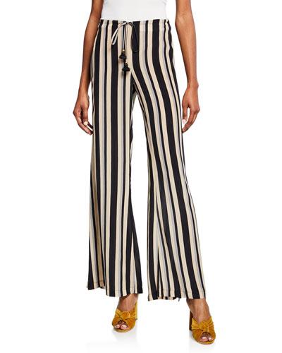 Simone Striped Silk Wide-Leg Pants