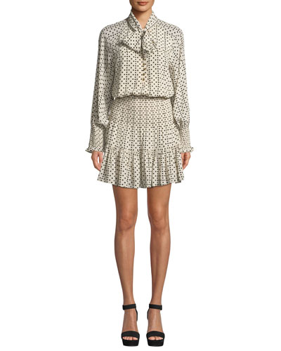 Carlita Long-Sleeve Polka Dot Silk Dress