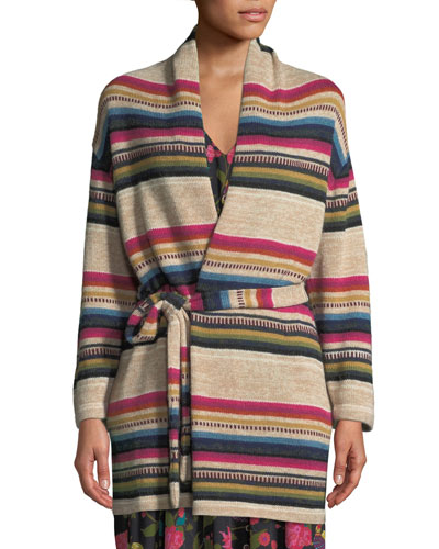 Camille Striped Wrap-Front Cardigan