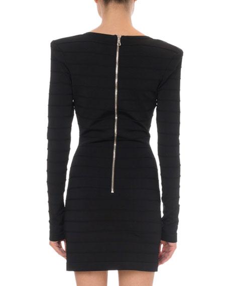 Balmain Long-Sleeve V-Neck Bicolor Knit Mini Dress