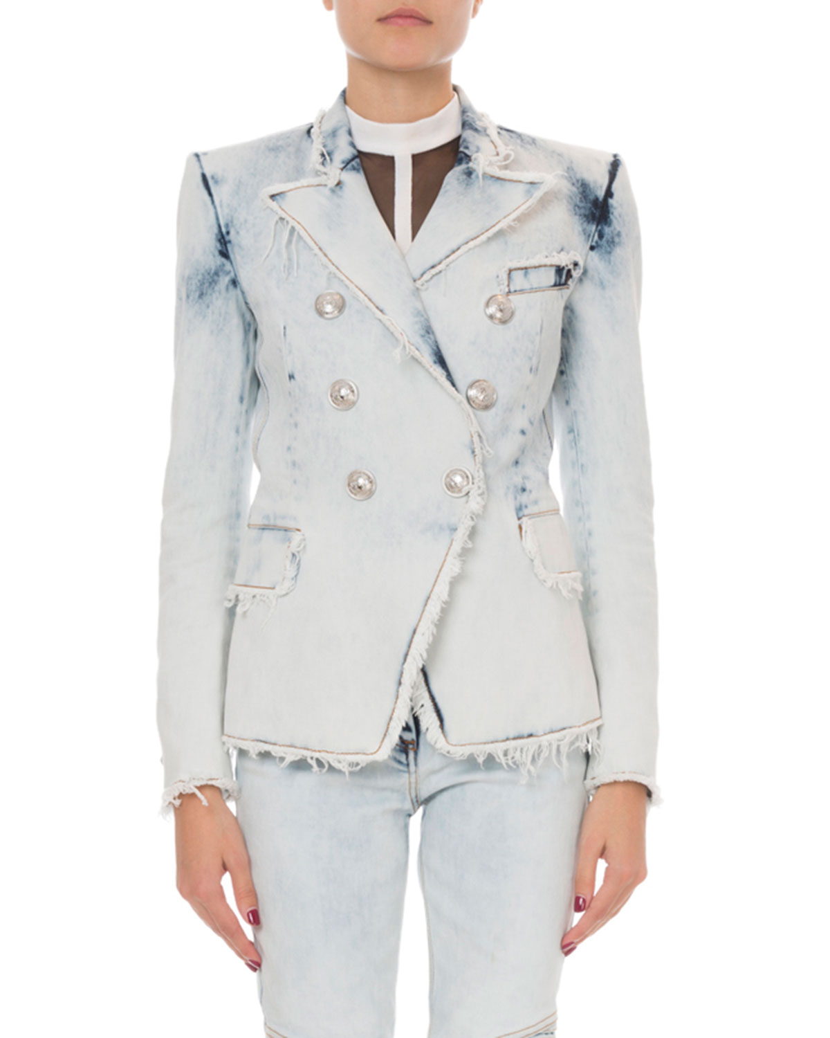 db8bdb3708e9 Balmain Classic Double-Breasted Bleached Denim Blazer