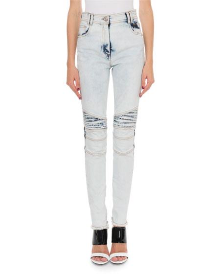 Balmain Bleached Denim Biker Jeans