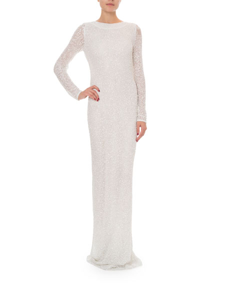 Balmain Long-Sleeve Open-Back Pearl & Sequin Gown