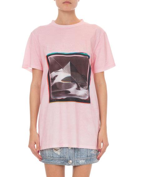 Balmain Short-Sleeve Pyramid Logo Graphic T-Shirt