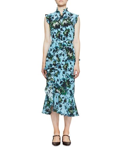 Irina Floral Silk Belted Ruffle Dress