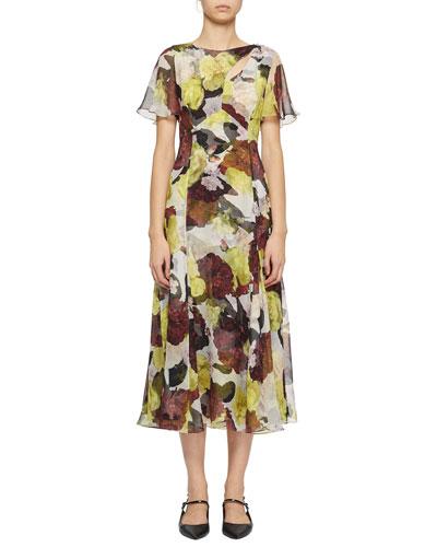 Flutter-Sleeve Floral Silk Cutout Midi Dress