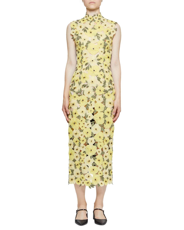 c94c21998f3 Erdem Floral-Embroidered Organza Mock-Neck Midi Dress