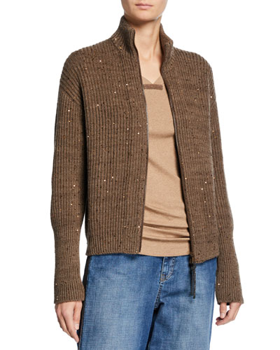 Sequined Cashmere-Silk Zip Cardigan